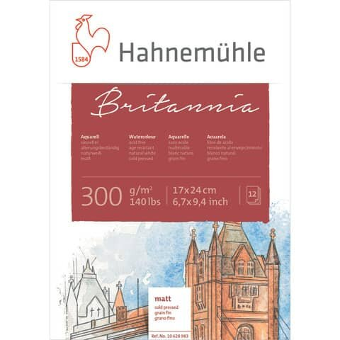 Hahnemühle Aquarellblock - 17 x 24 cm, 300 g/qm, 12 Blatt