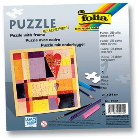 Folia Puzzle - 25tlg., 21 x 21 cm, blanko, weiß