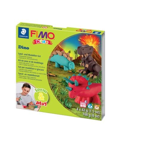 Staedtler Modelliermasse FIMO® Kids Materialpackung Form & Play Dino, 4 x 42 g