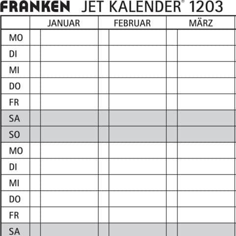 Franken Datumsstreifen, 191 x 695 mm, weiß