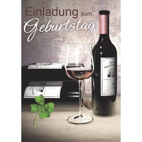 Einladung Geburtstag 'Weinflasche' - 5 Stück