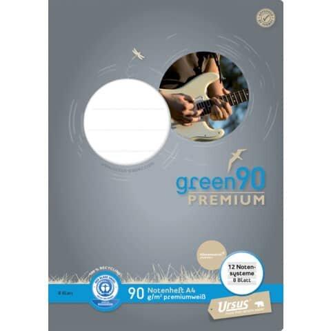 Staufen Green Notenheft - A4, 8 Blatt, 90 g/qm, 12 Notensysteme