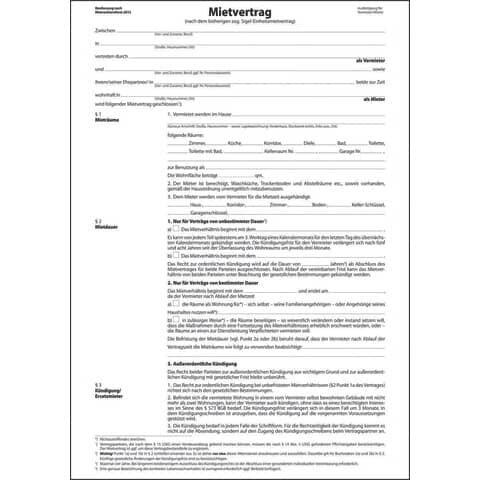 Sigel Mietvertrag-, ehemals Einheitsmietvertrag - A4, 6 seitig