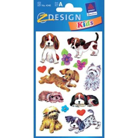 Avery Zweckform Z-Design 4340, Deko Sticker, Hunde, 3 Bogen/26 Sticker