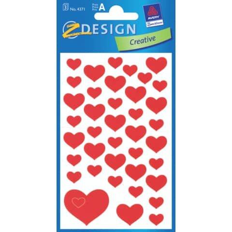 Avery Zweckform Z-Design 4371, Deko Sticker, Herzen, 3 Bogen/117 Sticker