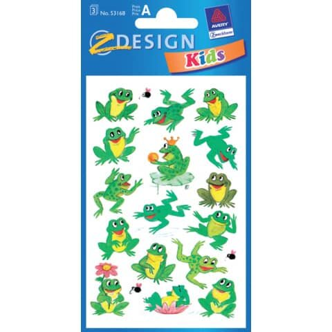 Avery Zweckform Z-Design 53168, Kinder Sticker, Frösche, 3 Bogen/32 Sticker