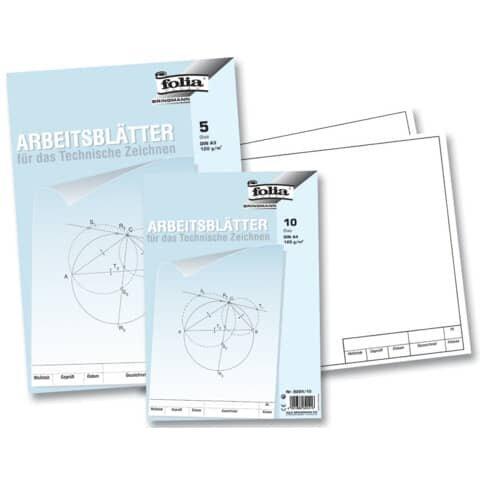 Folia Arbeitsblätter für technisches Zeichnen 120g/qm, weiß, DIN A3, 5 Blatt