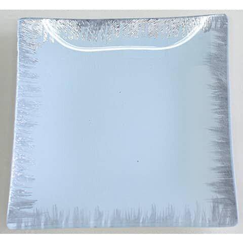 Glasteller - 15 x 15 cm, weiß-silber, eckig