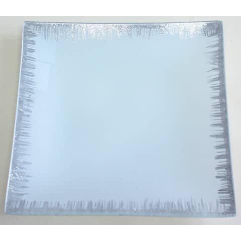 Glasteller - 20 x 20 cm, weiß-silber, eckig