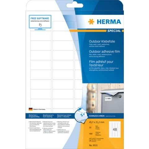 Herma 9531 Etiketten A4 Outdoor Klebefolie weiß 45,7x21,2 mm Folie matt 480 St.