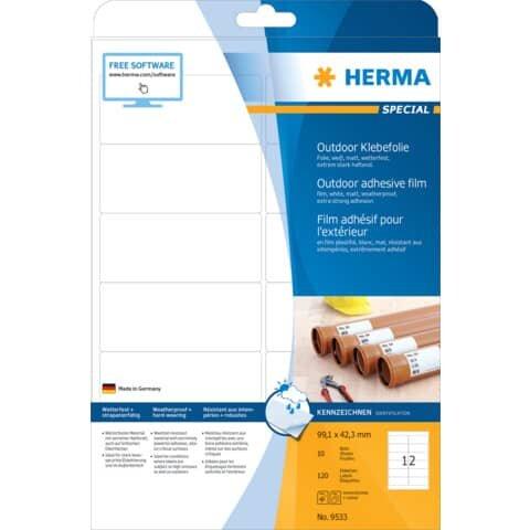 Herma 9533 Etiketten A4 Outdoor Klebefolie weiß 99,1x42,3 mm Folie matt 120 St.