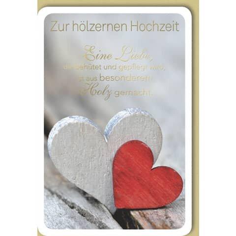 Hölzerne Hochzeitskarte - inkl. Umschlag