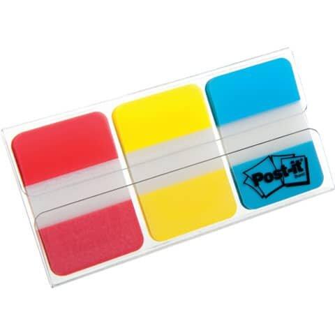 Post-It Haftstreifen Index Strong, 25,4 x 38 mm, Grundfarben, 3 x 22 Streifen
