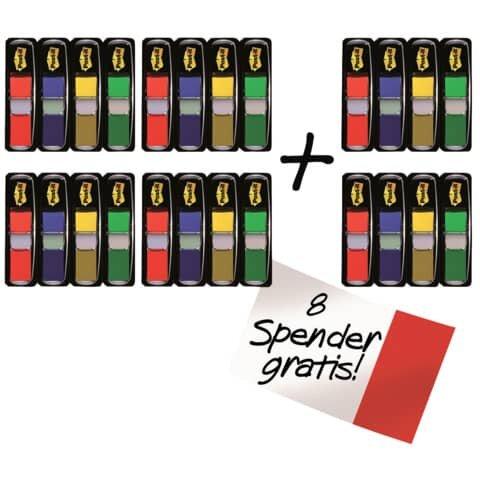 Post-It Haftstreifen Index Mini - 11,9 x 43,2 mm, sortiert, 16+8 Spender je 35 Streifen