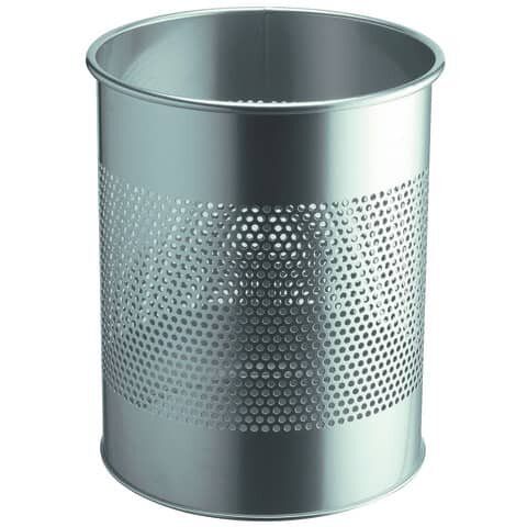 Durable Papierkorb Metall rund 15 Liter, P 165 mm, metallic silber