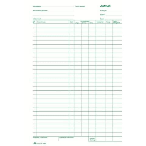 Rnk Aufmaß - Block, 100 Blatt, DIN A4, mit Durchschreibepapier