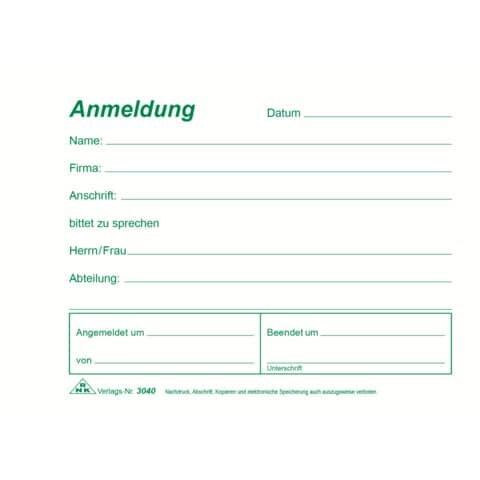 Rnk Besucher-Anmeldung - Block, 50 Blatt, DIN A6 quer
