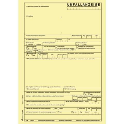 Rnk Unfallanzeige für Arbeitsunfall - SD, 1 x 5 Blatt, DIN A4, + 1 Seite Hinweise