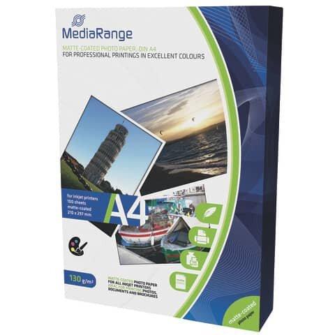 Mediarange DIN A4 Fotopapier für Tintenstrahldrucker, matt, 130g, 100 Blatt