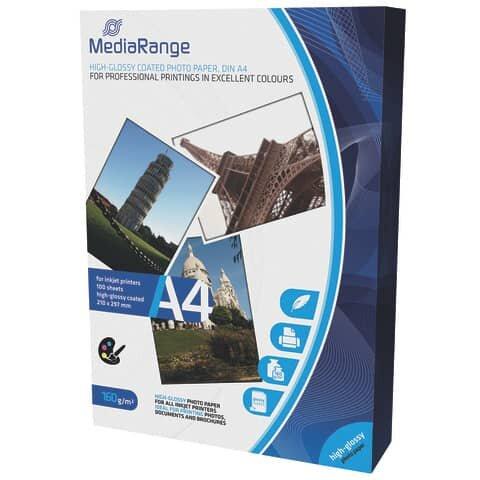 Mediarange DIN A4 Fotopapier für Tintenstrahldrucker, hochglänzend, 160g, 100 Blatt