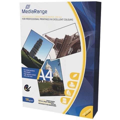 Mediarange DIN A4 Fotopapier für Tintenstrahldrucker, hochglänzend, 135g, 100 Blatt