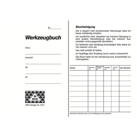 Rnk Werkzeugbuch, 16 Seiten, DIN A6
