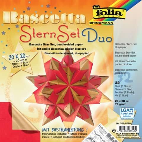 Folia Bascetta Stern - rot/gold, Ř 30 cm