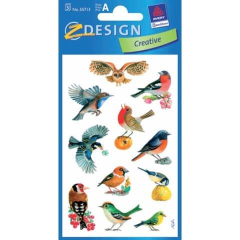 Avery Zweckform Z-Design 55713, Deko Sticker, Vögel, 3 Bogen/33 Sticker