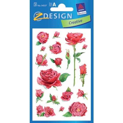 Avery Zweckform Z-Design 54337, Deko Sticker, Rosen, 3 Bogen/54 Sticker