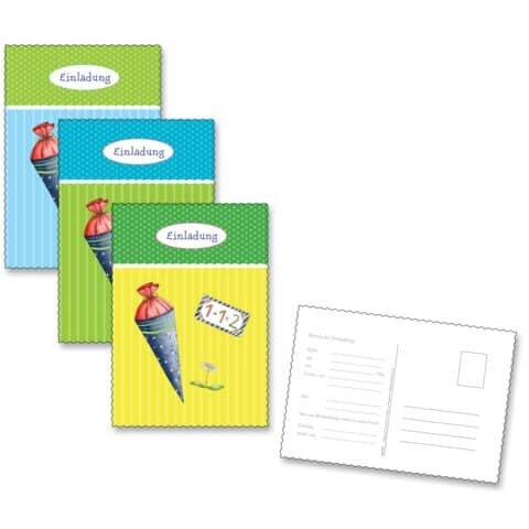 Roth Einladungspostkarte Schulanfang - 6 Stück, blau-bunt