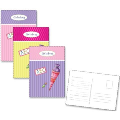 Roth Einladungspostkarte Schulanfang - 6 Stück, rosa-bunt
