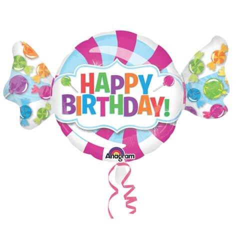 Folienballon Bonbon Happy Birthday - 101 x 60 cm