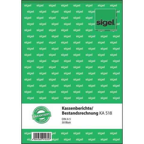 Sigel Kassenberichte/Bestandsrechnung - A5, 50 Blatt