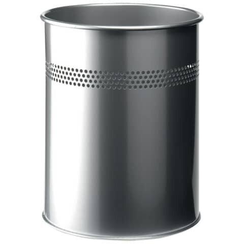 Durable Papierkorb Metall rund 15 Liter, P 30mm, metallic silber