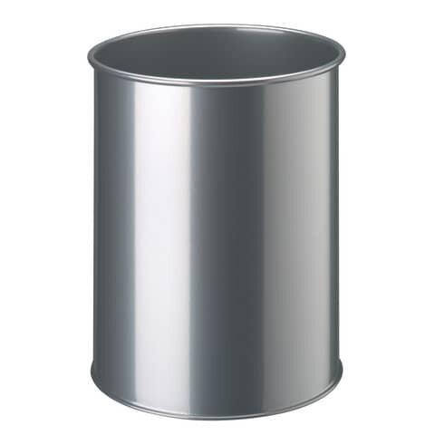 Durable Papierkorb Metall rund 15 Liter, metallic silber