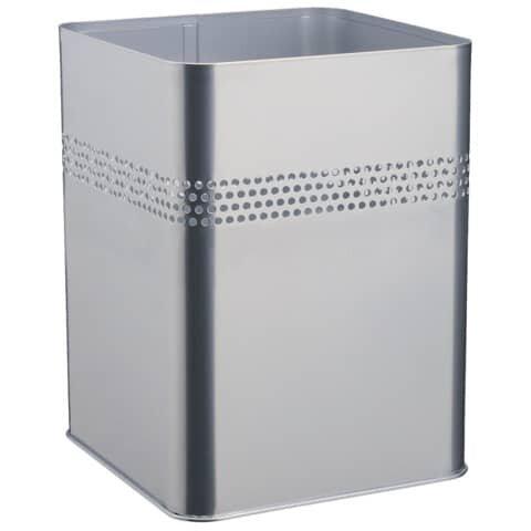 Durable Papierkorb Metall eckig 18,5 Liter, P 30 mm, metallic silber
