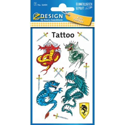 Avery Zweckform Z-Design 56404, Kinder Tattoos, Drachen, 1 Bogen/11 Tattoo