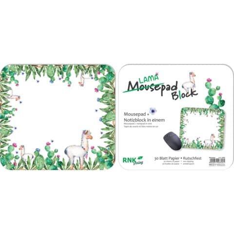 Rnk Mousepad - Block 'Lama' - 240 x 220 mm, 30 Blatt Papier